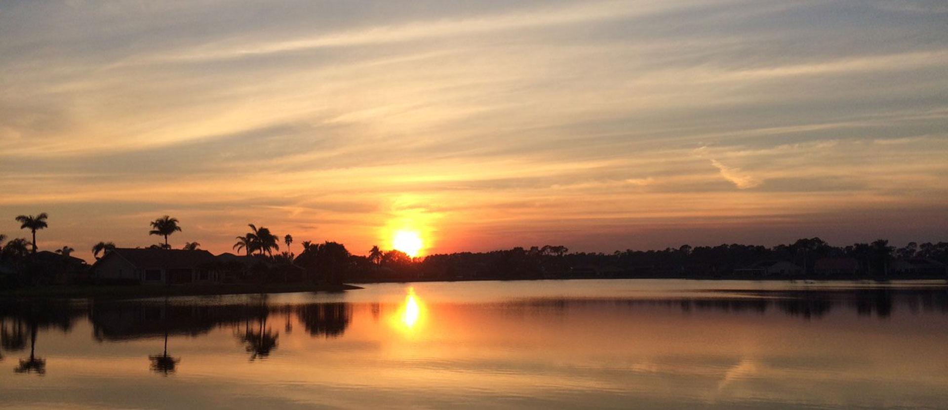 Naples, Florida sunset at New Waterford at Berkshire Lakes Condominium Association